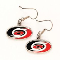 """CAROLINA HURRICANES OFFICIAL LOGO EARRINGS by NHL. $6.41. Show your team pride wherever you go with these popular team logo earrings. Hypo-Allergenic, stainless steel construction. Official logo, official team colors. Terrific collectible. A must have for game days. This is a great subtle and stylish way to show your team allegiance. Approx. .5"""" wide. Officially licensed by the league and the team. Decorated in the USA.. Save 68% Off!"""