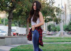 #denim #booties #plaid #fall #fallfashion #blogger #style #fashion #croptop