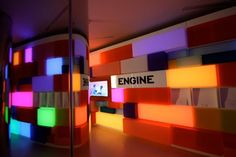 Acrylicize created this installation to spice up the lobby of Engine's headquarters in London. The wall is made up of a mosaic of protruding acrylic boxes that are fitted with color changing lights.