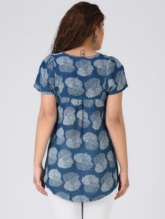 Indigo-Red Printed Linen Top with Gathers by Jaypore