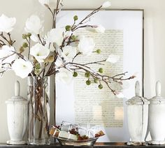 Faux Flocked Magnolia Stem from Pottery Barn. Saved to Christmas Decor. Shop more products from Pottery Barn on Wanelo. Country Christmas Decorations, Rustic Christmas, Christmas Vignette, White Christmas, Simple Christmas, Artificial Flower Arrangements, Floral Arrangements, Magnolia, Vases Decor