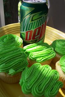 Mountain Dew Cupcakes!  (However, after reading coments below the recipe, I might cut back the lemon/lime juices and add more Mt. Dew and/or some orange juice.