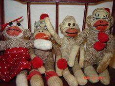 mini sock monkeys made from vintage socks.