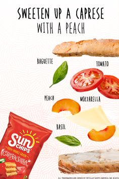 Looking for a tasty new lunch idea? Start with your basic Caprese sandwich and add a peach for a sweet twist on a delicious classic. Try pairing with SunChips® Garden Salsa® snacks. The garden fresh taste of ripe tomatoes and fresh-picked jalapeno peppers are the perfect complement to this one-of-a-kind sandwich.