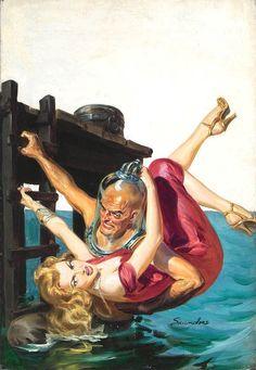 Norman Saunders Vintage Pulp Art Illustration   Female-Centric Pulp Art   Sugary.Sweet   #Pulp #Art #Illustration