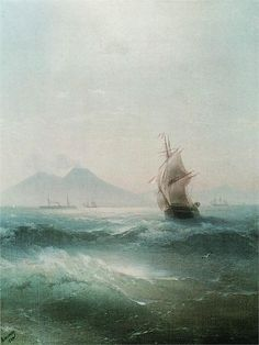 The Bay of Naples - View of Vesuvius 1879 - Ivan Aivazovsky - tall ship.
