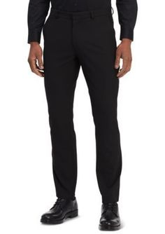 Calvin Klein Men's Fine Cord Stripe Bi-Stretch Pants - Black - 33 X 32