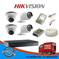 Hikvision 7200 Series 4 Ch DVR+600TVL 2 IR Dome&2IR Bullet Cameras+500GB HDD KIT
