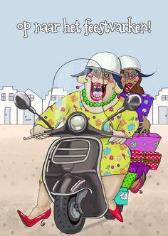 Verjaardagskaart Op de scooter, verkrijgbaar bij #kaartje2go voor € 1,99