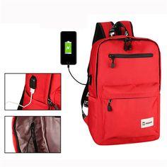 Sale 17% (28.85$) - USB Charging Port Backpack Nylon Capacity Travel Bag Computer Bag Shoulder Bag