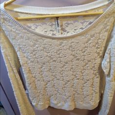 Lace cream colored Aeropostale top This lace top has never been worn, NWOT. Aeropostale Tops Tees - Long Sleeve