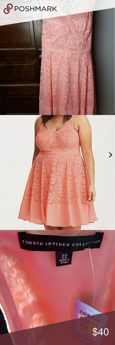 BNWT Torrid scrappy skater dress, peach lace! This is a brand new with tags Torrid Insider Collection Peach skate dress, purchased in May 2017.  It is made with a beautiful flower lace and fitting around the bust.   Size 22.  DISCLAIMER: This item comes from a pet friendly home. I've tried my best to clean items before they arrive to you. torrid Dresses