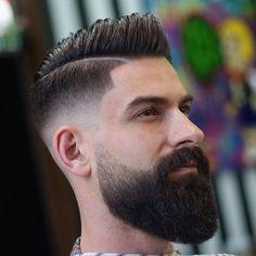Big Comb Over Fade + Long Beard + Part