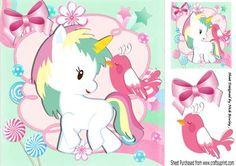 Pretty fantasy rainbow unicorn with bird 8x8 on Craftsuprint - Add To Basket!