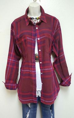 RED/BKUE boyfriend shirt rodeo dress blouse TOP XL + Anthropologie Earrings | Clothing, Shoes & Accessories, Women's Clothing, Tops & Blouses | eBay!
