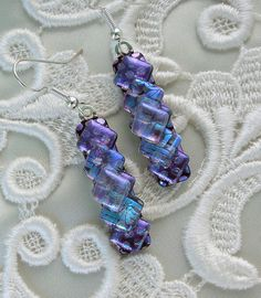 Dichroic Fused Glass Earrings Dichroic Glass by GalaxyGlassStudio, $19.00