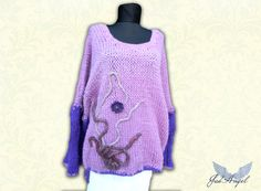 Extralarge Knitted Women Pullover Purple Pul Size by JadAngel