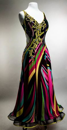 Unique multicolored patterned gown with swirl decorations with Swarovski crystals Size: S/M Dance Outfits, Dress Outfits, Fashion Dresses, Dress Up, Ballroom Costumes, Ballroom Dance Dresses, Dance Costumes, Salsa, Gown Pattern