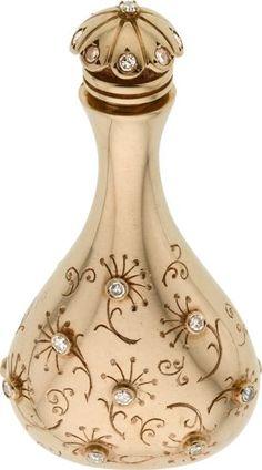 Description Retro Diamond, Gold Perfume Bottle, John Rubel The dainty perfume…