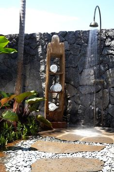 Use pavers and stone for a beautiful outdoor shower!