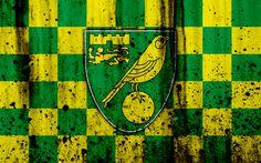 Download wallpapers 4k, FC Norwich City, grunge, EFL Championship, art, soccer, football club, England, Norwich City, logo, stone texture, Norwich City FC