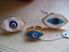 Evil eye rings to ward off evil spirits! Eye Jewelry, Jewelry Art, Jewlery, Fashion Jewelry, Goodluck Charms, Greek Evil Eye, Evil Eye Ring, Look Into My Eyes, Eye Art