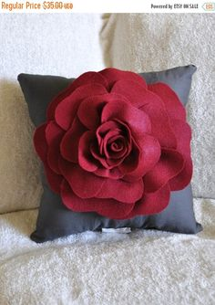 Gray Decorative Pillow - Rose Pillow - Ruby Red on Grey Pillow - Throw Pillow 14x14 by bedbuggs on Etsy https://www.etsy.com/listing/59098210/black-friday-sale-gray-decorative-pillow