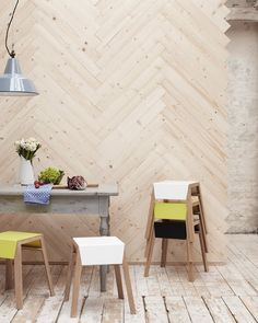 That herringbone wood wall! \\ Photo by Peter Fehrentz My sister had a wall like this in her home in the '70's!