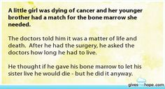 A little girl was dying of cancer and her younger brother had a match for the bone marrow she needed.