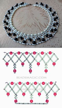 Free pattern for  beaded necklace Norma seed beads 11/0 pearl beads 6mm pearl beads 8 mm