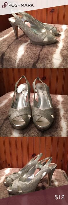 Sparkly Prom Heels Good uses condition. Silver glitter Metaphor Shoes Heels