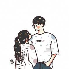 Cute Couple Comics, Couples Comics, Bright Wallpaper, Kawaii Wallpaper, Couple Aesthetic, Aesthetic Art, Chibi Couple, Couple Illustration, Thai Art