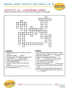bike safety activity sheet ages 8 to 11 crossword puzzle