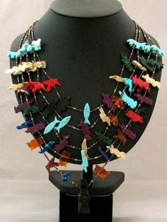 Native American Navajo Made Five-Strand Fetish Necklace