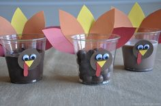 2014 Thanksgiving Turkey Cups Crafts - Chocolate, Diy Turkey Pattern  #2014 #Thanksgiving