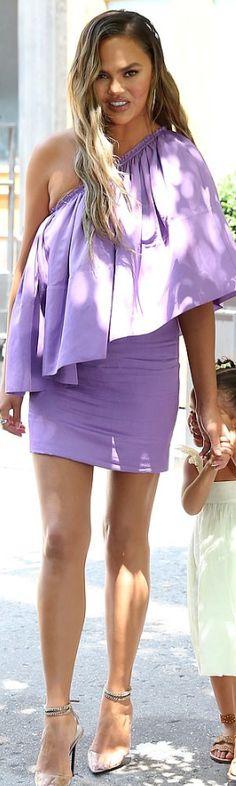 82f024d09b4 Who made Chrissy Teigen's purple one shoulder mini dress?