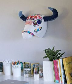 12 Sources for Faux Taxidermy Animal Heads Apartment therapy Animal Head Decor, Animal Heads, Cow Head, Fabric Animals, Faux Taxidermy, Mexican Dresses, Mexican Style, Art Wall Kids, Vintage Paper