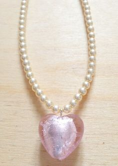 Glass Pearl Necklace With Pink Glass Heart by FredericaDixon, £14.99