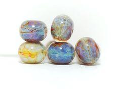 Lampwork BORO glass beads (7), borosilicate glass beads, handmade borosilicate lampwork glass beads, brown yellow ochre. borosilicate SRA by Juliyamrboro on Etsy