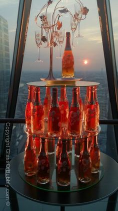 Rose #Champagne display with #sunset. #PerrierJouet