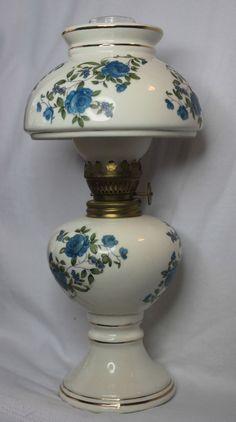 Miniature Oil / Perfume Lamp MILK GLASS FIRED BLUE FLOWERS  Mini