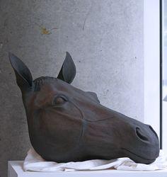 black horse (40 x 35 x 70cm) stoneware by Harumi Foster