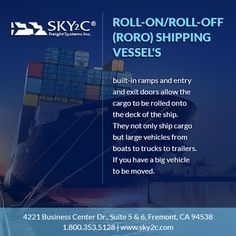 Relocating? Moving? Want your car(s) transported across the globe, Sky2C can help you with that. Our Roll-On/Roll-Off (RO-RO) shipping vessels takes special care of your freight and transfers it safely and securely.