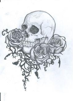 I like the three roses underneath more than the skull. Skull tattoo design by ei3ga.deviantart.com on @deviantART