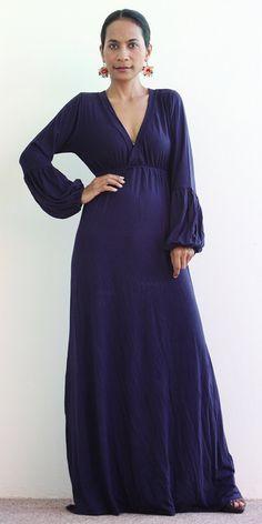 Navy Blue Maxi Dress   Long Sleeved blue maxi dress  by Nuichan, $58.00