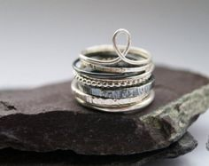 Tower Of Sterling Silver Rings - stacking rings, hammered, silver bands, oxidised