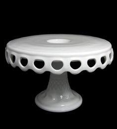Vintage Drop Lace Edge Milk Glass Cake Plate
