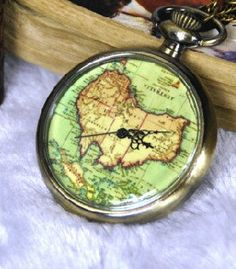 Gorgeous!  Brass Map Pocket Watch Pendant World Map Large 264127 by peahenLee, $5.59