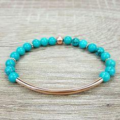 Turquoise & Rose Gold bar bracelet