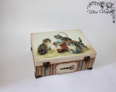 Sewing / knitting needles box with pin cushion, sewing machine, thread, needle, quilt, Sewing Supplies, button.t Tilda